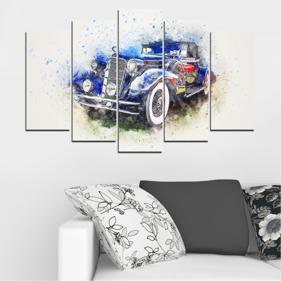 Canvas prints & wall decorative panels - 5 pieces №0748 » Blue, Black, Gray, White, Dark grey » Abstraction, Drawing, Car Form #1