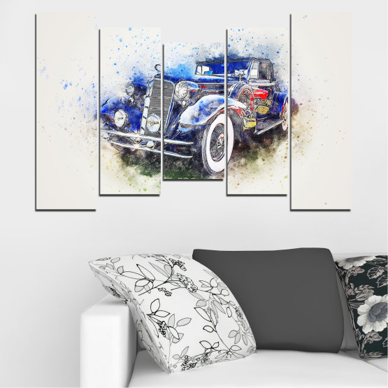Canvas prints & wall decorative panels - 5 pieces №0748 » Blue, Black, Gray, White, Dark grey » Abstraction, Drawing, Car Form #4
