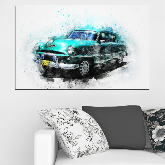 Canvas prints & wall decorative panels - 1 piece №0749 » Turquoise, Black, Gray, White, Dark grey » Abstraction, Drawing, Car Form #1