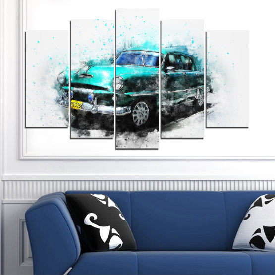 Canvas prints & wall decorative panels - 5 pieces №0749 » Turquoise, Black, Gray, White, Dark grey » Abstraction, Drawing, Car Form #1