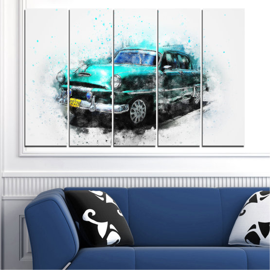 Canvas prints & wall decorative panels - 5 pieces №0749 » Turquoise, Black, Gray, White, Dark grey » Abstraction, Drawing, Car Form #2