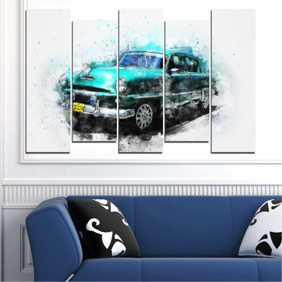 Canvas prints & wall decorative panels - 5 pieces №0749 » Turquoise, Black, Gray, White, Dark grey » Abstraction, Drawing, Car Form #3