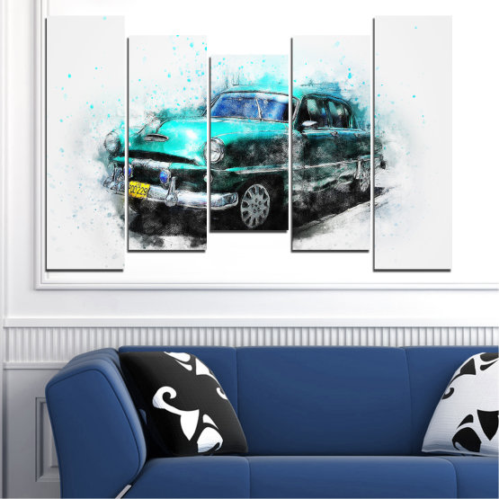 Canvas prints & wall decorative panels - 5 pieces №0749 » Turquoise, Black, Gray, White, Dark grey » Abstraction, Drawing, Car Form #4