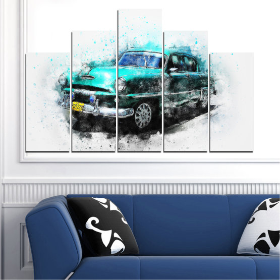 Canvas prints & wall decorative panels - 5 pieces №0749 » Turquoise, Black, Gray, White, Dark grey » Abstraction, Drawing, Car Form #5