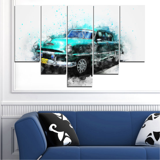 Canvas prints & wall decorative panels - 5 pieces №0749 » Turquoise, Black, Gray, White, Dark grey » Abstraction, Drawing, Car Form #6