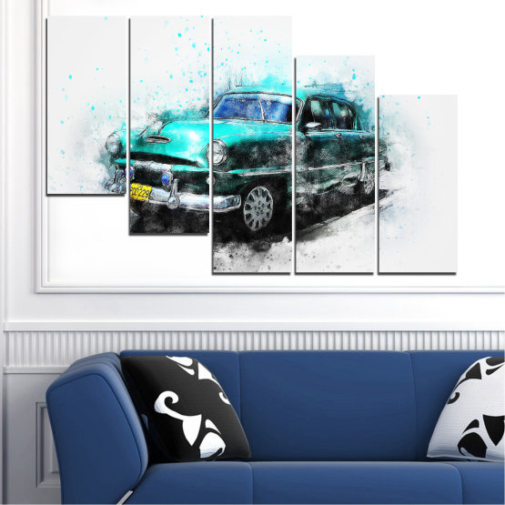 Canvas prints & wall decorative panels - 5 pieces №0749 » Turquoise, Black, Gray, White, Dark grey » Abstraction, Drawing, Car Form #7