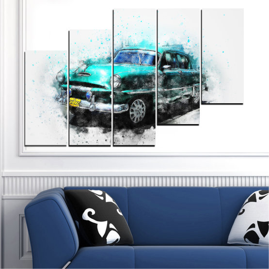 Canvas prints & wall decorative panels - 5 pieces №0749 » Turquoise, Black, Gray, White, Dark grey » Abstraction, Drawing, Car Form #8