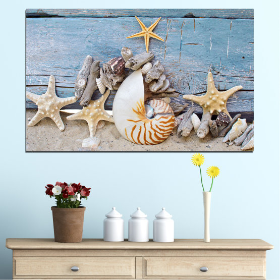 Canvas prints & wall decorative panels - 1 piece №0750 » Turquoise, Gray, Beige, Dark grey » Sea, Beach, Summer, Shell Form #1