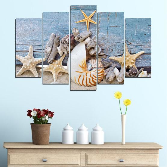 Декоративни панели и картини от канава - от 5 части №0750 » Тюркоаз, Сив, Бежов, Тъмно сив » Море, Плаж, Лято, Черупка Form #1