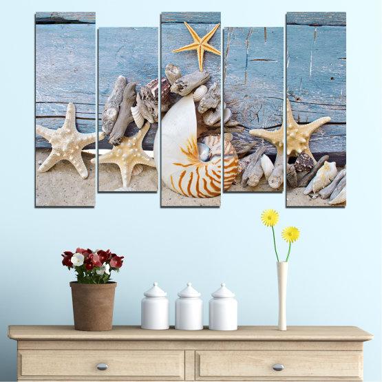 Декоративни панели и картини от канава - от 5 части №0750 » Тюркоаз, Сив, Бежов, Тъмно сив » Море, Плаж, Лято, Черупка Form #3