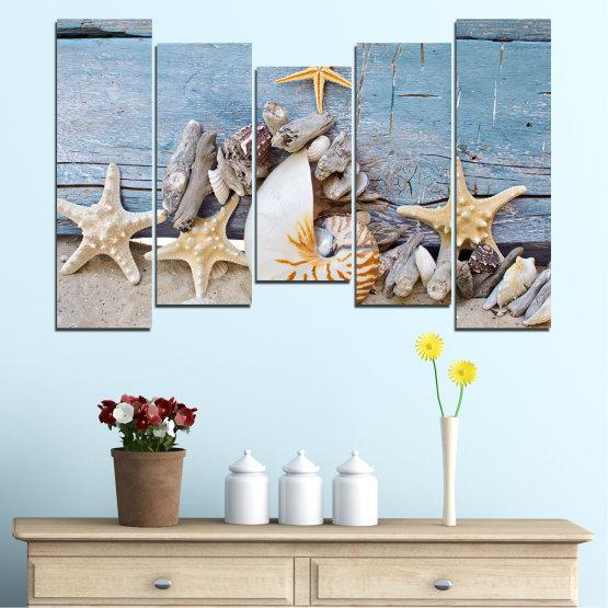 Декоративни панели и картини от канава - от 5 части №0750 » Тюркоаз, Сив, Бежов, Тъмно сив » Море, Плаж, Лято, Черупка Form #4