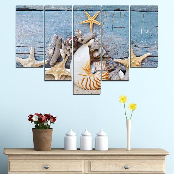 Декоративни панели и картини от канава - от 5 части №0750 » Тюркоаз, Сив, Бежов, Тъмно сив » Море, Плаж, Лято, Черупка Form #6