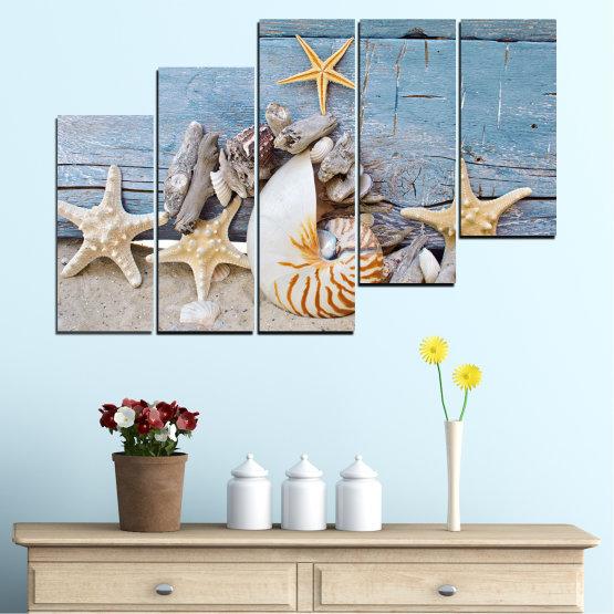 Декоративни панели и картини от канава - от 5 части №0750 » Тюркоаз, Сив, Бежов, Тъмно сив » Море, Плаж, Лято, Черупка Form #8