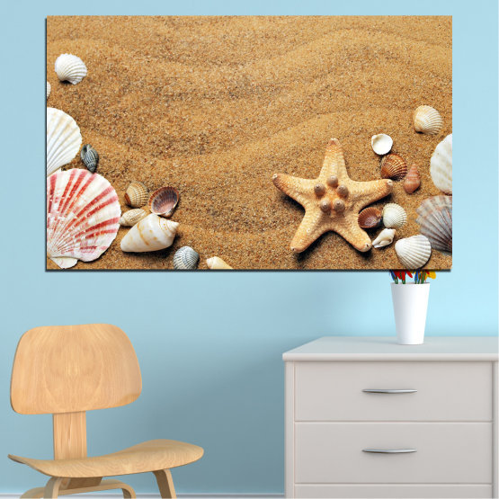 Canvas prints & wall decorative panels - 1 piece №0751 » Green, Orange, Brown, Gray, Beige » Sea, Beach, Summer, Star, Sand, Stone, Tropical, Starfish, Shell Form #1