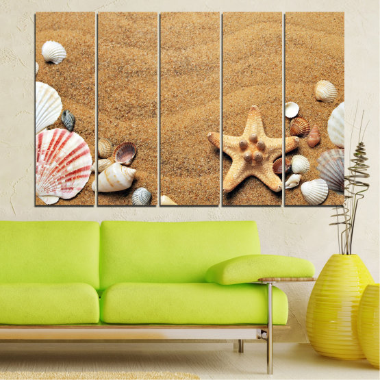 Canvas prints & wall decorative panels - 5 pieces №0751 » Green, Orange, Brown, Gray, Beige » Sea, Beach, Summer, Star, Sand, Stone, Tropical, Starfish, Shell Form #2