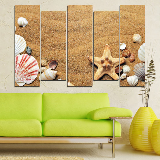 Canvas prints & wall decorative panels - 5 pieces №0751 » Green, Orange, Brown, Gray, Beige » Sea, Beach, Summer, Star, Sand, Stone, Tropical, Starfish, Shell Form #3
