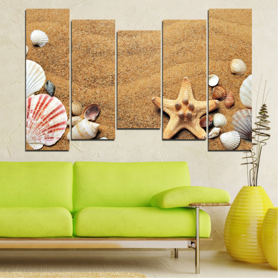 Canvas prints & wall decorative panels - 5 pieces №0751 » Green, Orange, Brown, Gray, Beige » Sea, Beach, Summer, Star, Sand, Stone, Tropical, Starfish, Shell Form #4