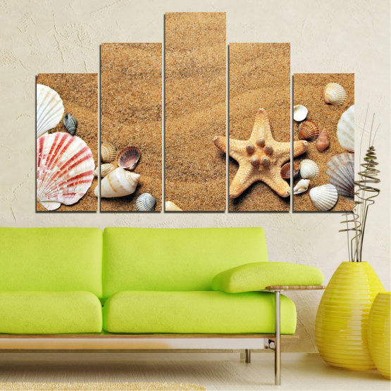 Canvas prints & wall decorative panels - 5 pieces №0751 » Green, Orange, Brown, Gray, Beige » Sea, Beach, Summer, Star, Sand, Stone, Tropical, Starfish, Shell Form #5