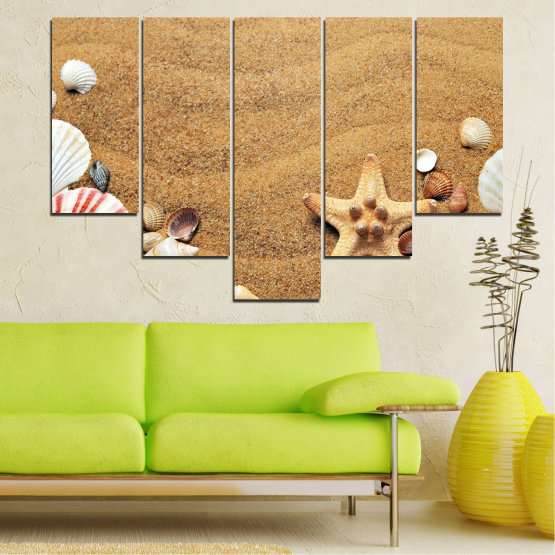 Canvas prints & wall decorative panels - 5 pieces №0751 » Green, Orange, Brown, Gray, Beige » Sea, Beach, Summer, Star, Sand, Stone, Tropical, Starfish, Shell Form #6