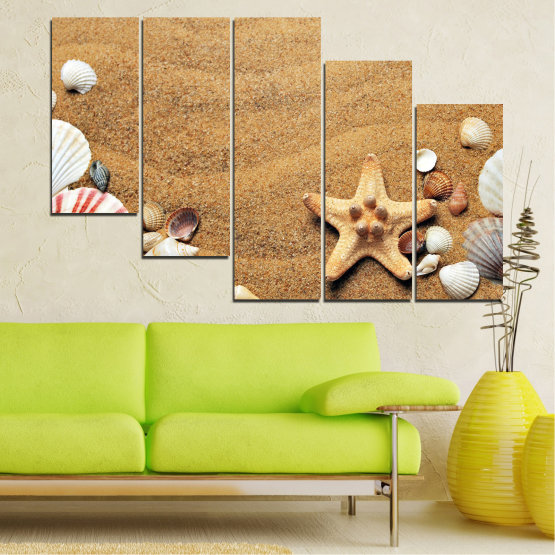 Canvas prints & wall decorative panels - 5 pieces №0751 » Green, Orange, Brown, Gray, Beige » Sea, Beach, Summer, Star, Sand, Stone, Tropical, Starfish, Shell Form #7