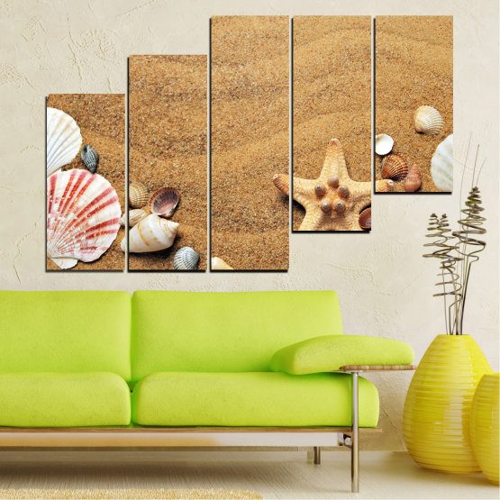 Canvas prints & wall decorative panels - 5 pieces №0751 » Green, Orange, Brown, Gray, Beige » Sea, Beach, Summer, Star, Sand, Stone, Tropical, Starfish, Shell Form #8