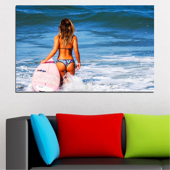 Canvas prints & wall decorative panels - 1 piece №0752 » Blue, Turquoise, Gray, White, Dark grey » Sea, Summer, Ocean, Wave, Tropical, Sexy, Bikini Form #1