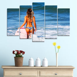 Sea, Ocean, Summer, Wave, Sexy, Bikini, Tropical » Blue, Turquoise, Gray, White, Dark grey