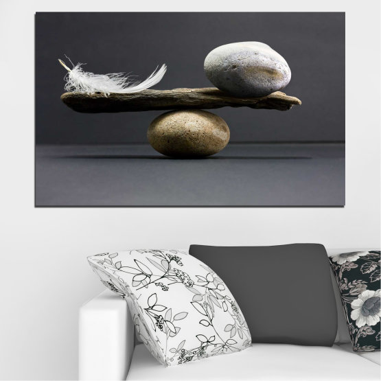 Canvas prints & wall decorative panels - 1 piece №0753 » Purple, Black, Gray, Dark grey » Zen, Stone, Balance Form #1