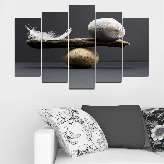 Canvas prints & wall decorative panels - 5 pieces №0753 » Purple, Black, Gray, Dark grey » Zen, Stone, Balance Form #1