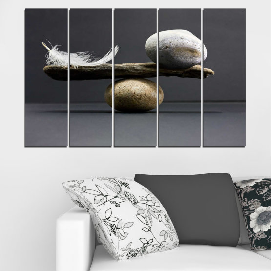 Canvas prints & wall decorative panels - 5 pieces №0753 » Purple, Black, Gray, Dark grey » Zen, Stone, Balance Form #2