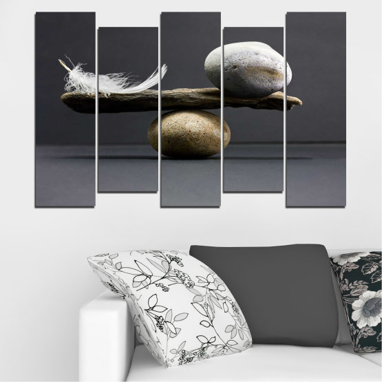 Canvas prints & wall decorative panels - 5 pieces №0753 » Purple, Black, Gray, Dark grey » Zen, Stone, Balance Form #3