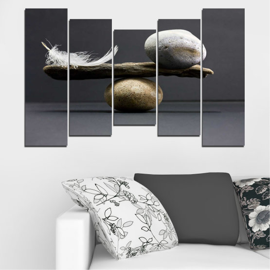 Canvas prints & wall decorative panels - 5 pieces №0753 » Purple, Black, Gray, Dark grey » Zen, Stone, Balance Form #4