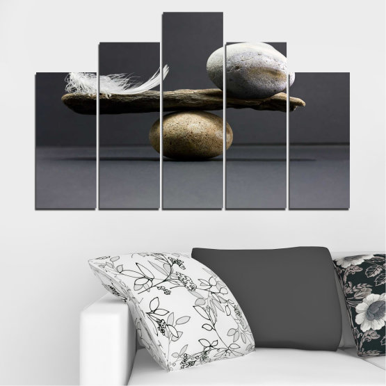 Canvas prints & wall decorative panels - 5 pieces №0753 » Purple, Black, Gray, Dark grey » Zen, Stone, Balance Form #5