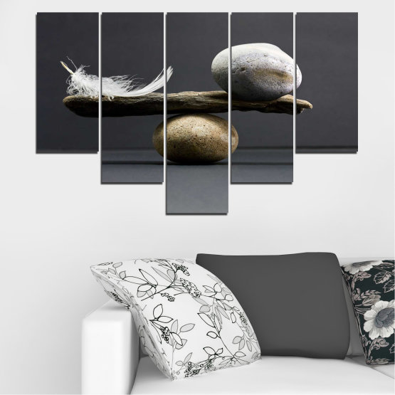 Canvas prints & wall decorative panels - 5 pieces №0753 » Purple, Black, Gray, Dark grey » Zen, Stone, Balance Form #6