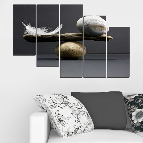 Canvas prints & wall decorative panels - 5 pieces №0753 » Purple, Black, Gray, Dark grey » Zen, Stone, Balance Form #7