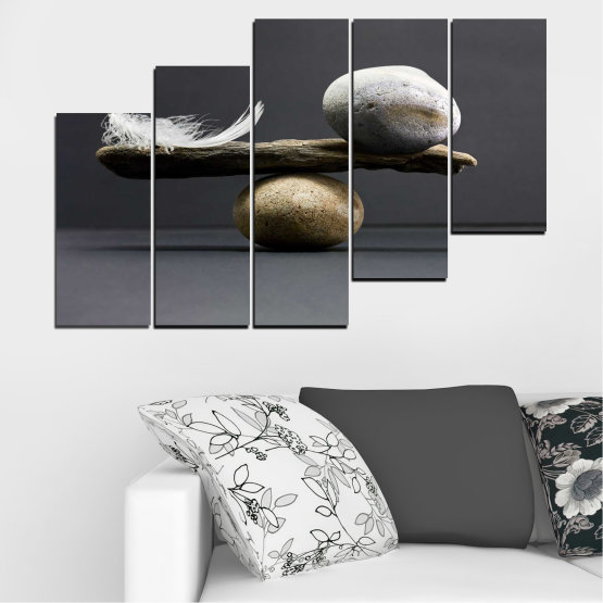 Canvas prints & wall decorative panels - 5 pieces №0753 » Purple, Black, Gray, Dark grey » Zen, Stone, Balance Form #8