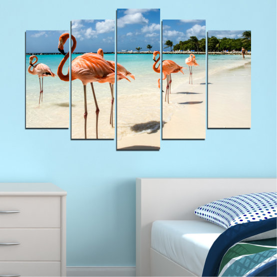 Canvas prints & wall decorative panels - 5 pieces №0754 » Blue, Turquoise, Milky pink » Flamingo, Pink, Bird Form #1
