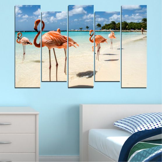 Canvas prints & wall decorative panels - 5 pieces №0754 » Blue, Turquoise, Milky pink » Flamingo, Pink, Bird Form #3