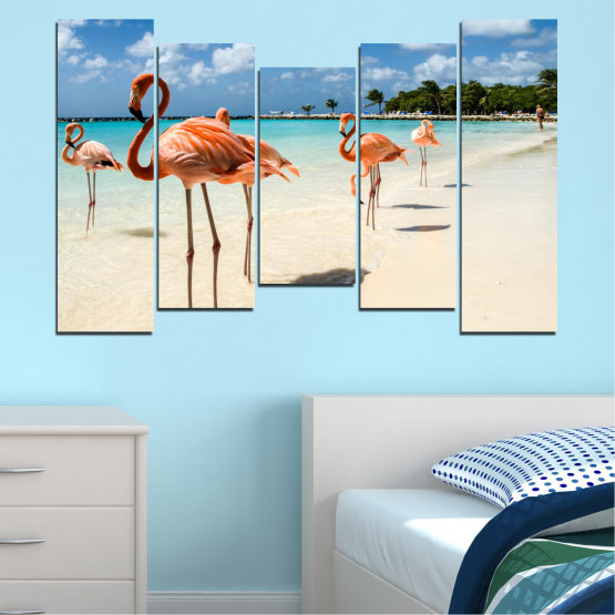 Canvas prints & wall decorative panels - 5 pieces №0754 » Blue, Turquoise, Milky pink » Flamingo, Pink, Bird Form #4