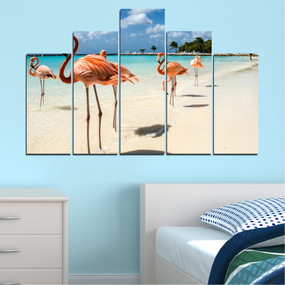 Canvas prints & wall decorative panels - 5 pieces №0754 » Blue, Turquoise, Milky pink » Flamingo, Pink, Bird Form #5