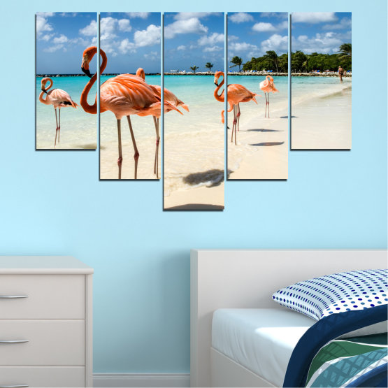 Canvas prints & wall decorative panels - 5 pieces №0754 » Blue, Turquoise, Milky pink » Flamingo, Pink, Bird Form #6