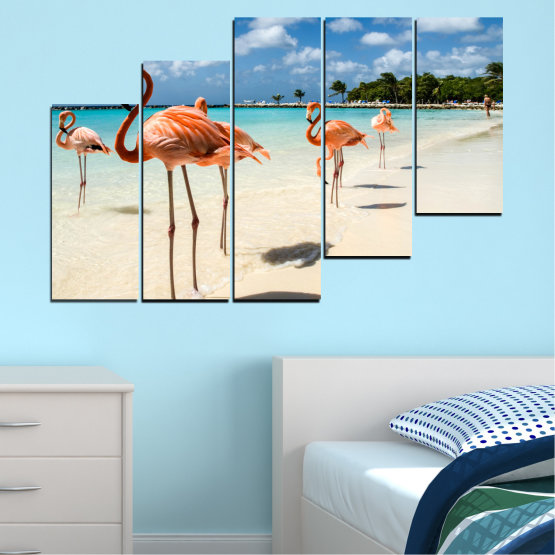 Canvas prints & wall decorative panels - 5 pieces №0754 » Blue, Turquoise, Milky pink » Flamingo, Pink, Bird Form #8