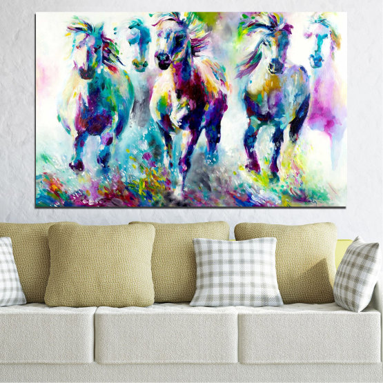 Canvas prints & wall decorative panels - 1 piece №0755 » Pink, Purple, Turquoise, Green, Yellow, Gray, White, Dark grey » Art, Color, Motion Form #1