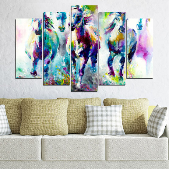 Canvas prints & wall decorative panels - 5 pieces №0755 » Pink, Purple, Turquoise, Green, Yellow, Gray, White, Dark grey » Art, Color, Motion Form #1
