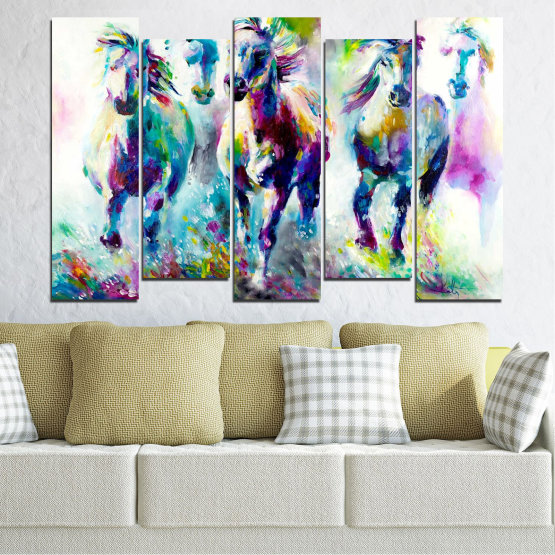 Canvas prints & wall decorative panels - 5 pieces №0755 » Pink, Purple, Turquoise, Green, Yellow, Gray, White, Dark grey » Art, Color, Motion Form #3