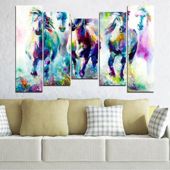 Canvas prints & wall decorative panels - 5 pieces №0755 » Pink, Purple, Turquoise, Green, Yellow, Gray, White, Dark grey » Art, Color, Motion Form #4