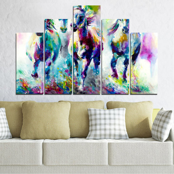 Canvas prints & wall decorative panels - 5 pieces №0755 » Pink, Purple, Turquoise, Green, Yellow, Gray, White, Dark grey » Art, Color, Motion Form #5