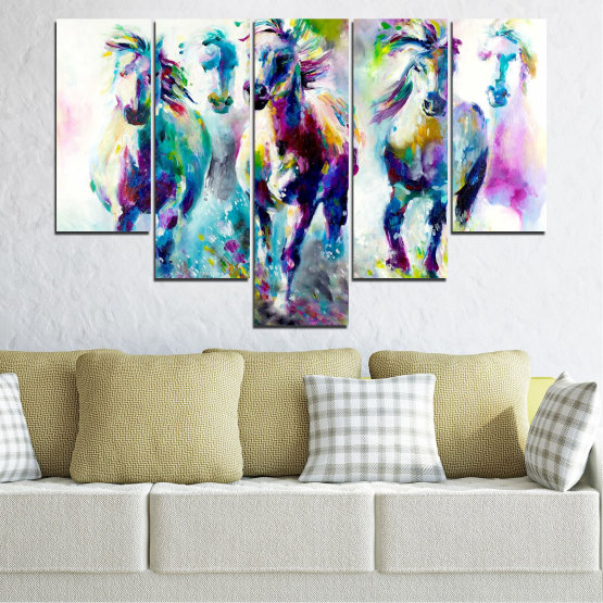 Canvas prints & wall decorative panels - 5 pieces №0755 » Pink, Purple, Turquoise, Green, Yellow, Gray, White, Dark grey » Art, Color, Motion Form #6