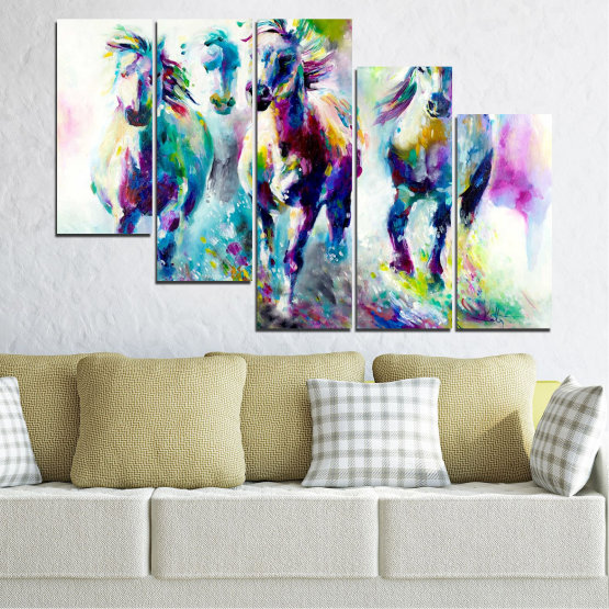 Canvas prints & wall decorative panels - 5 pieces №0755 » Pink, Purple, Turquoise, Green, Yellow, Gray, White, Dark grey » Art, Color, Motion Form #7