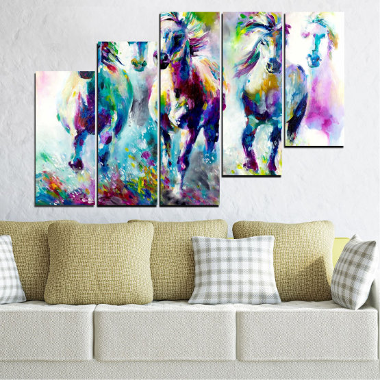 Canvas prints & wall decorative panels - 5 pieces №0755 » Pink, Purple, Turquoise, Green, Yellow, Gray, White, Dark grey » Art, Color, Motion Form #8